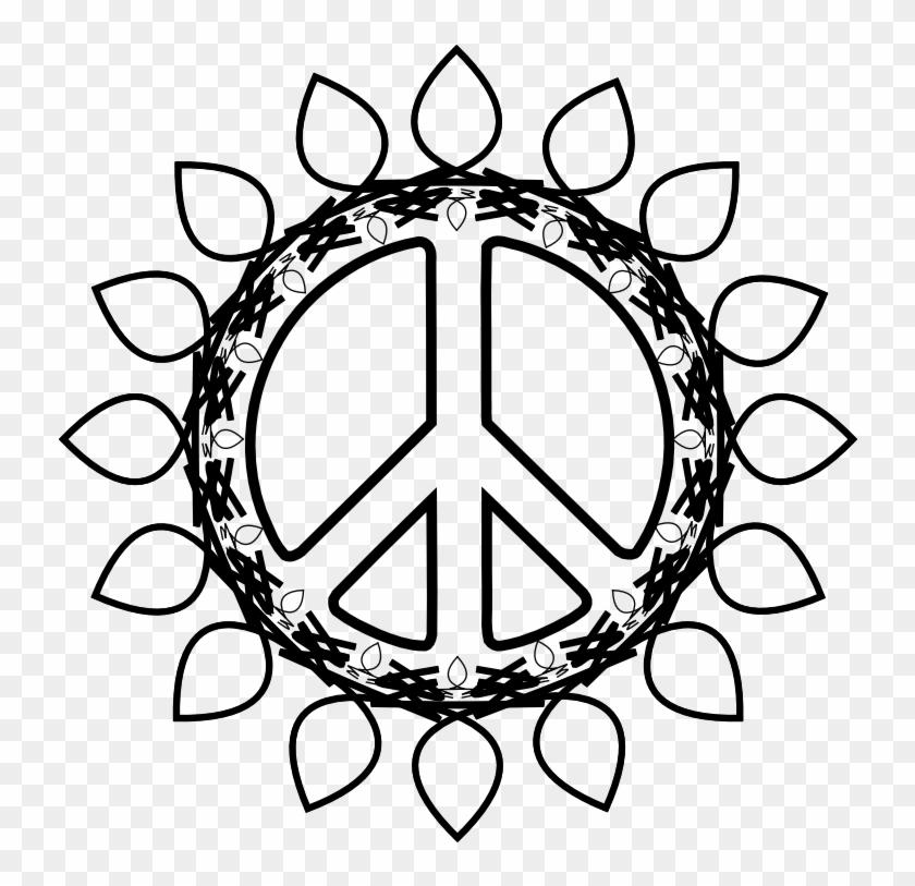Peace Symbol Peace Sign Flower 73 Black White Line - Peace Sign Dream Catcher Vector Clipart #4534204