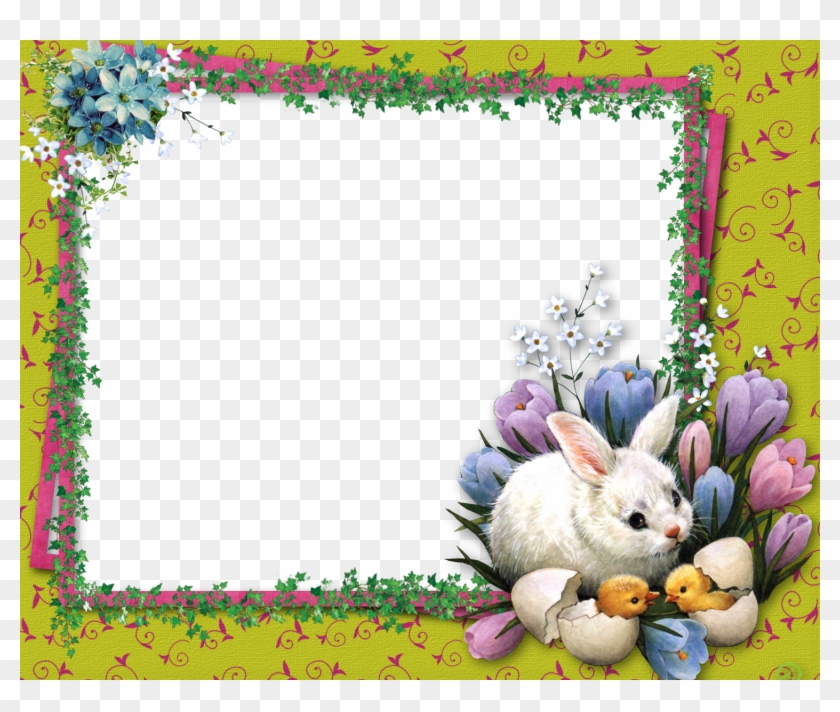 Frame Background, Easter Pictures, Coloring Easter - Happy Easter Chick And Bunny Clipart #4539193