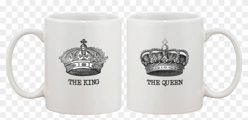 King & Queen Crown Matching Couple Mugs - Mugs For Best Friends Clipart #4560694