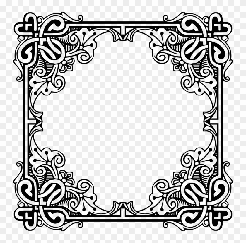 Picture Frames Engraving Antique Retro Style Drawing - Ornamentales Vintage Clipart #4572908