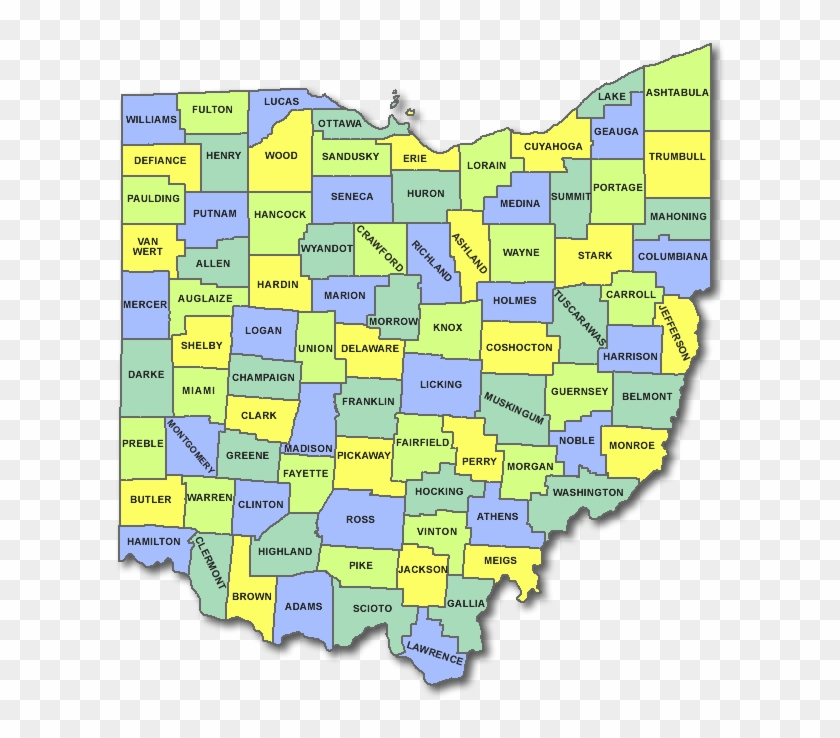 Ohio County Map - States Of Ohio Clipart #4584075