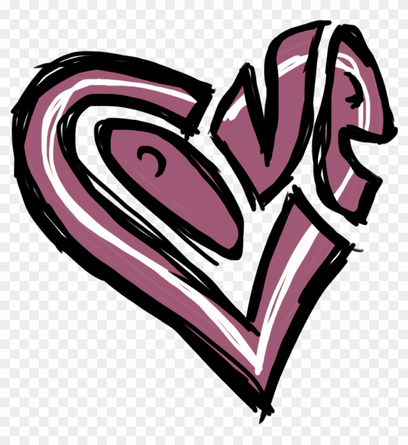 Black Heart - Love Graffiti Heart Drawing Clipart #461642