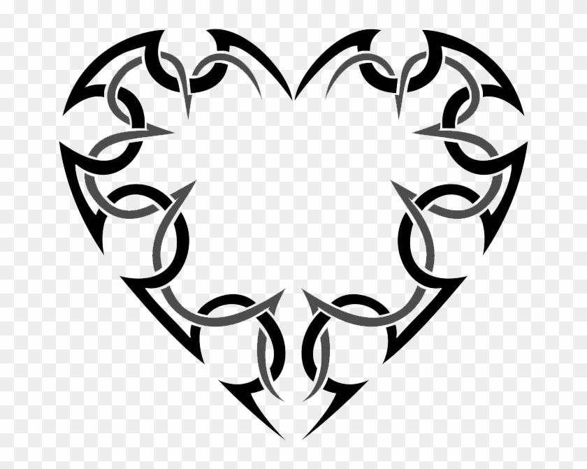 Heart Tattoos Png Transparent Heart Tattoos - Tribal Tattoo Heart Png Clipart #462613