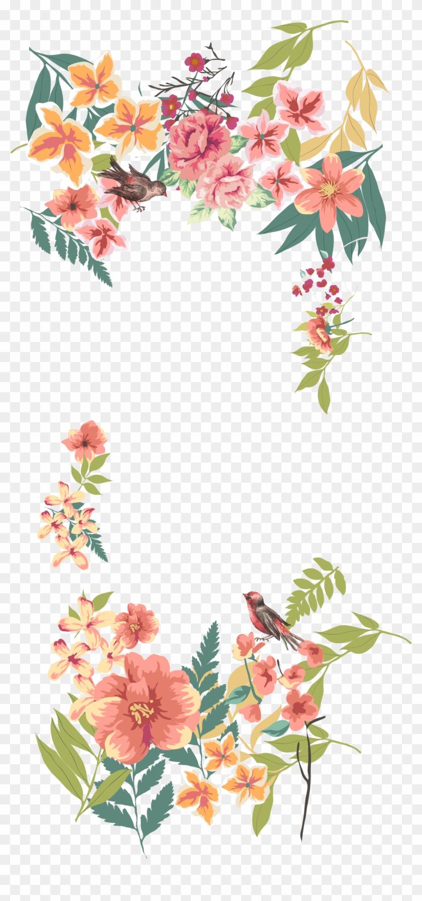 Flower Euclidean Vector Floral Design - Flower Border Png Clipart #463257