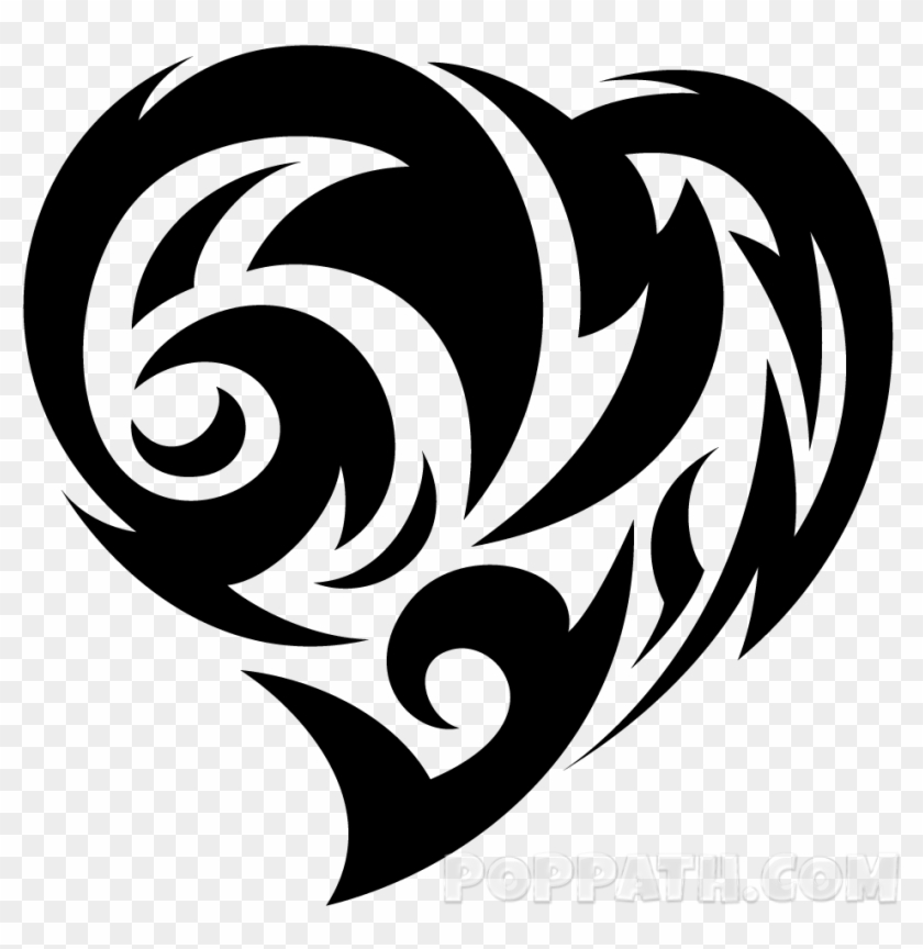 Jpg Black And White Library How To Draw A Heart Tribal Dibujos