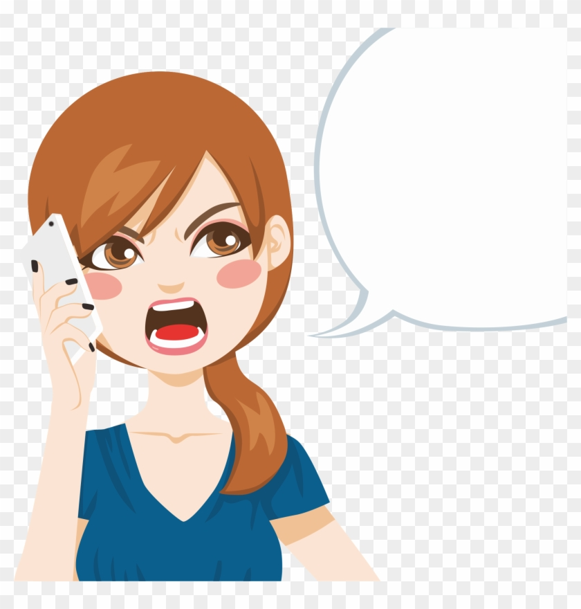 Download Angry Girl Png - Cartoon Girl Talking On Phone