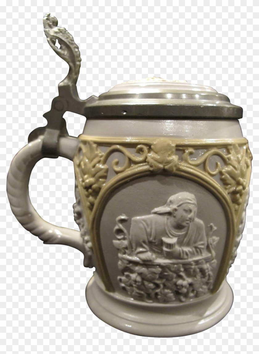 Antique Mettlach Villeroy And Boch Relief Beer Stein - Antique Clipart #4607173