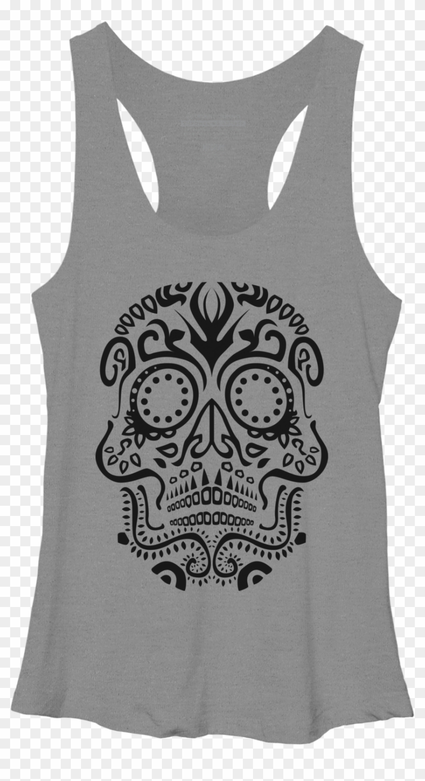 Day Of The Dead Skull No2 Racerback - Active Tank Clipart #4687307