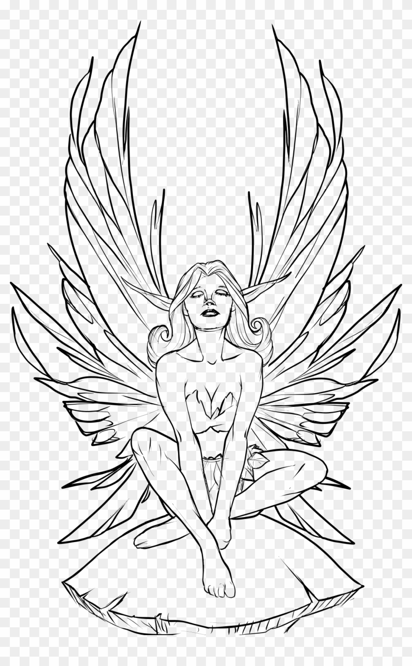 Fairy Line Drawing At Getdrawings - Fairy Drawing Clipart #4706192