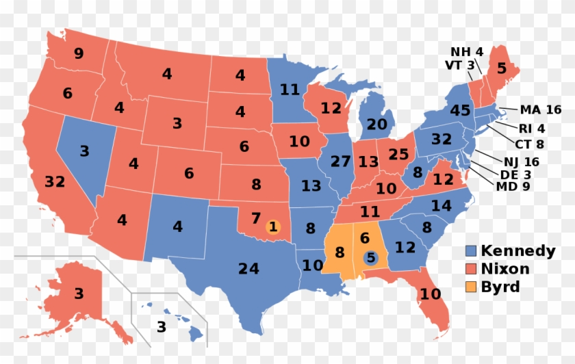 1960 United States Presidential Election - 2016 Electoral College Clipart #4706674
