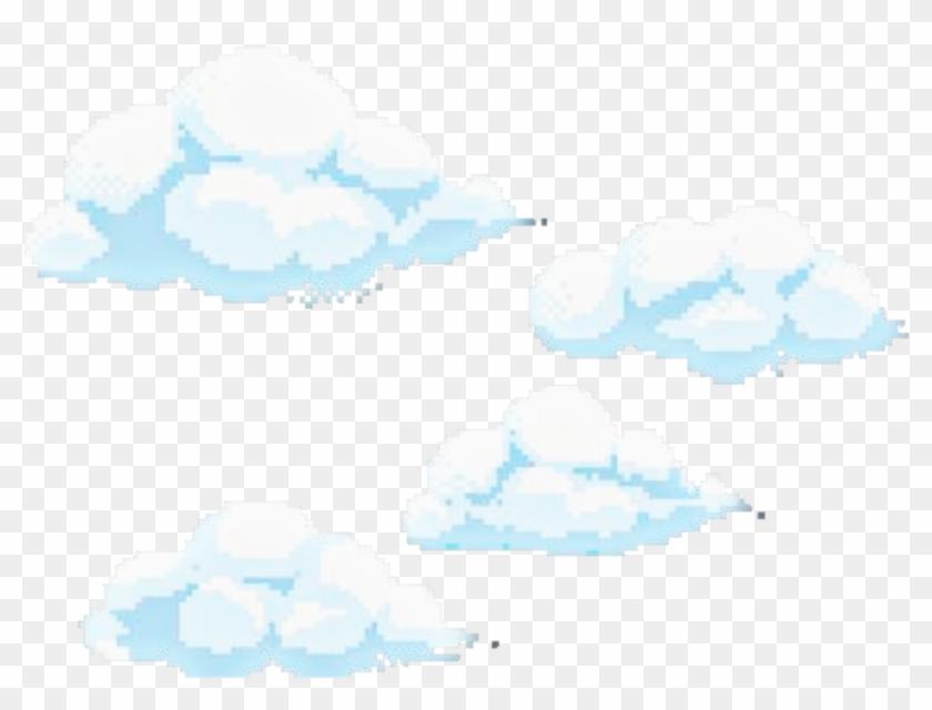 Blue Nuvens Pixel Kawaii Cloud Pixel Art Png Transparent