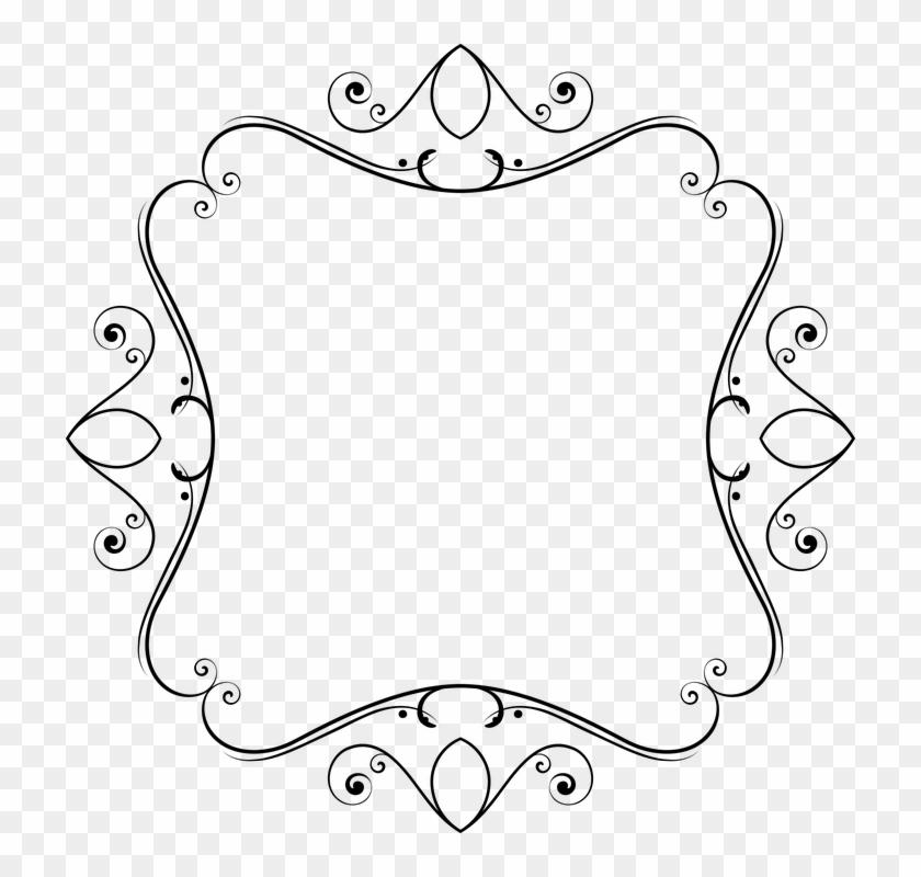 Flourish Decorative Ornamental Frame Line Art - Line Art Clipart #4734424