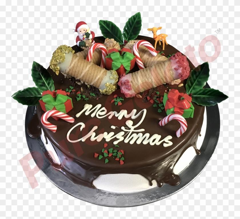 Cannoli Gelato Cake Chocolate Drip Christmas Theme - Chocolate Cake Clipart #4758699