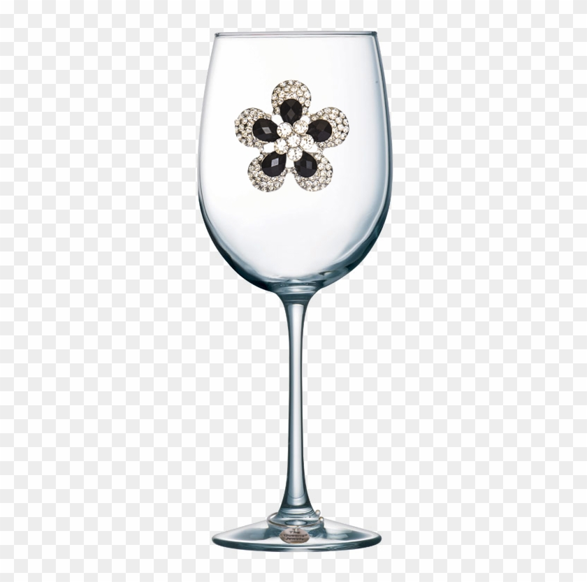 Black Diamond Flower Jeweled Stemmed Wine Glass - Wine Glass With Hearts, HD Png Download #4770871