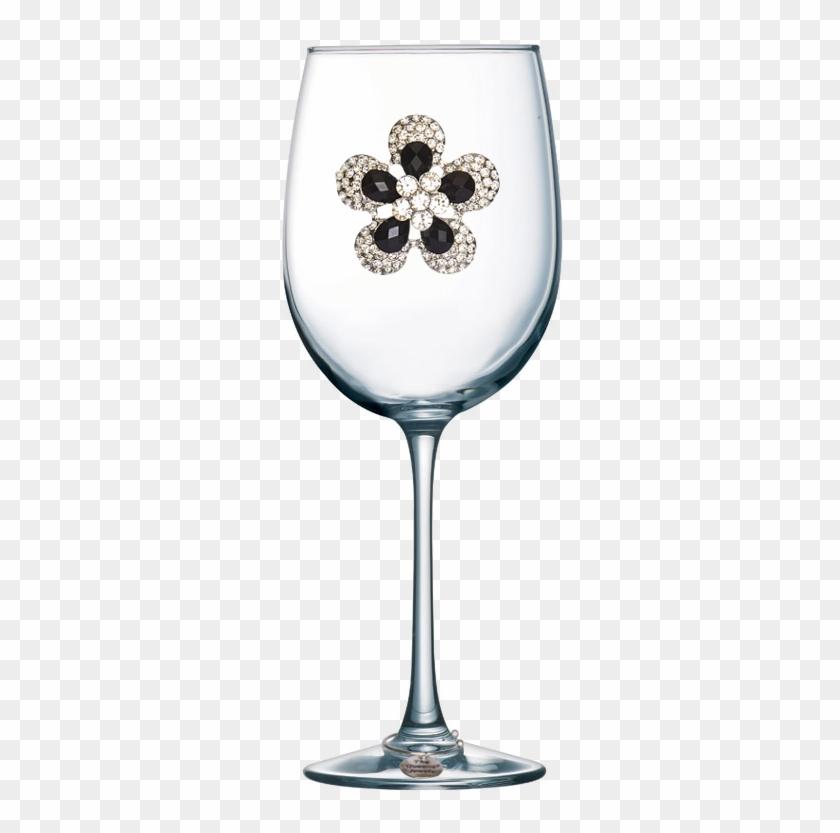 Black Diamond Flower Jeweled Stemmed Wine Glass - Wine Glass With Hearts Clipart #4770871