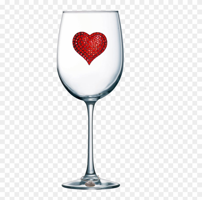 Red Heart Jeweled Stemmed Wine Glass - Wine Glass With Hearts Clipart #4776051