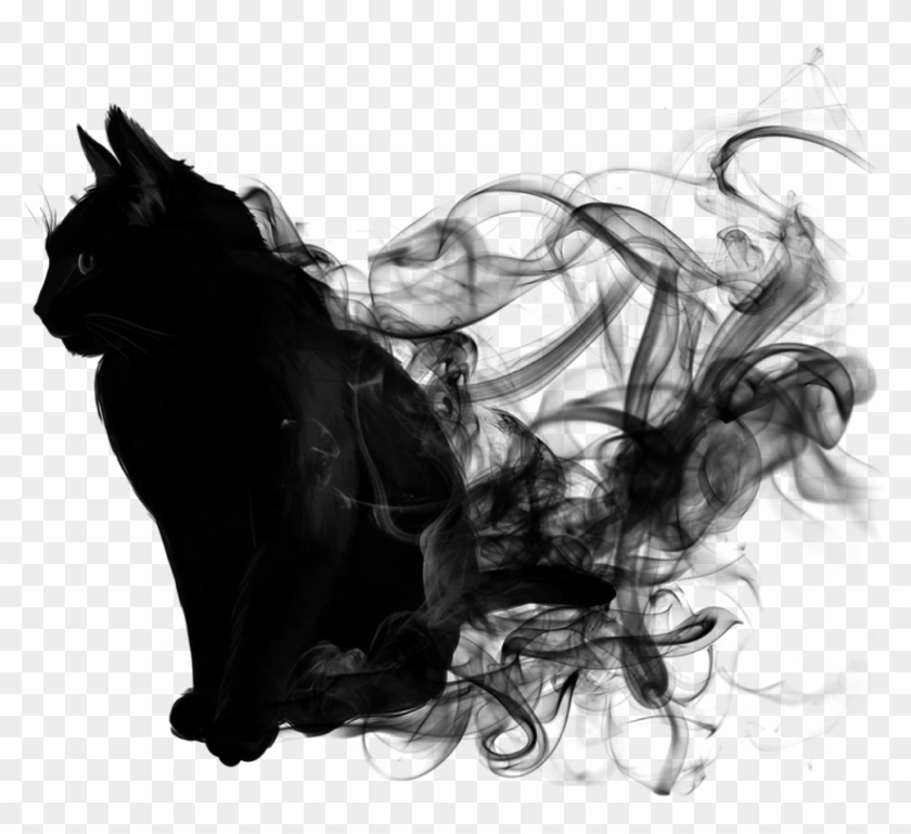 Cat Black Smoke Blacksmoke Animal Blackandwhite - Halloween Wallpaper Iphone Cat Clipart #482280