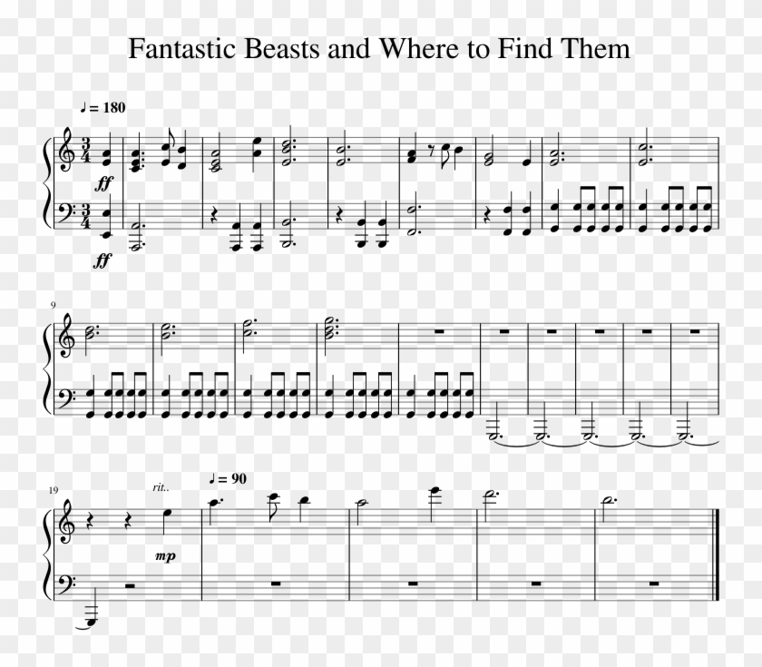 Fantastic Beasts And Where To Find Them Sheet Music - Sheet Music Clipart #4834852