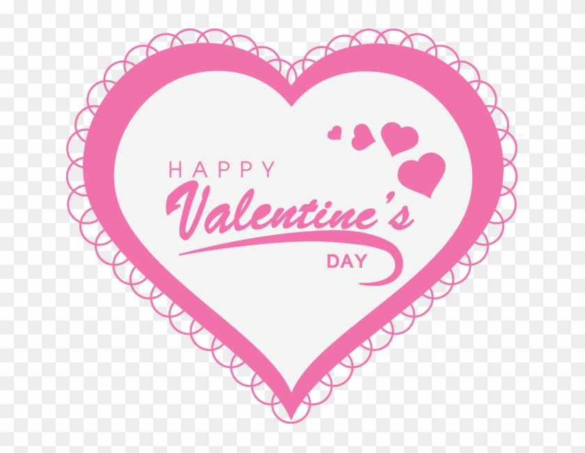 Happy Valentine's Day Text With Pink Heart - Valentine's Day Clipart #4857693