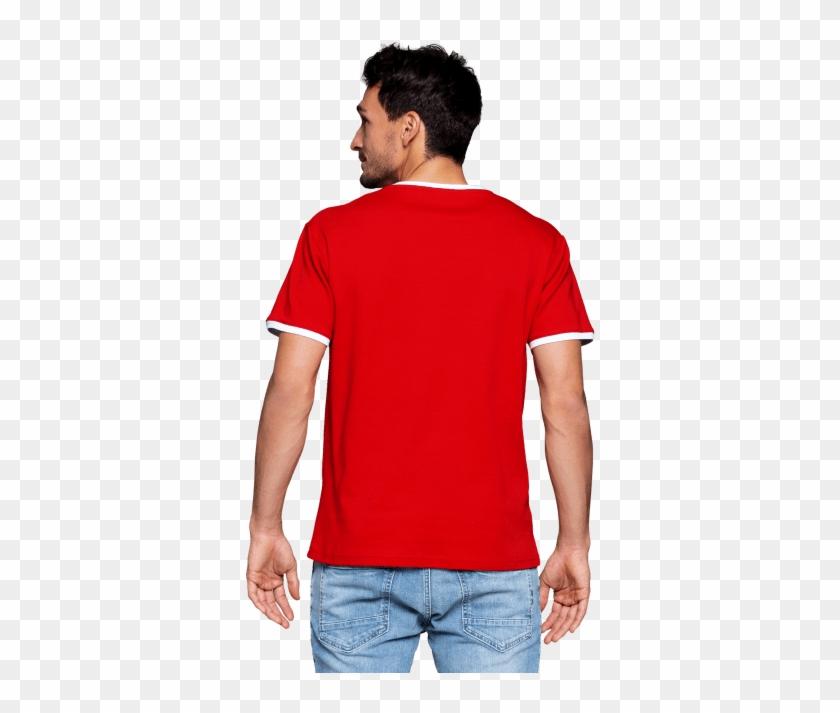 T-shirt Retro - Pantalon Azul Con Polo Rojo Clipart #4858112