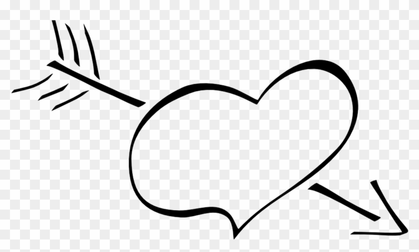 Hearts Clipart Arrow Clip Art Pencil And In Color Hearts - Love Black And White Clipart - Png Download #4867608