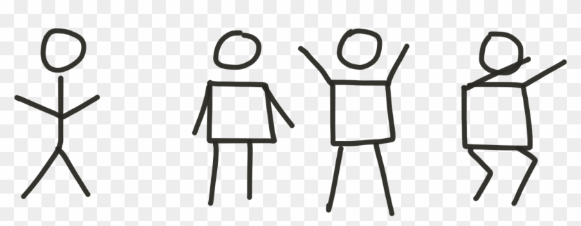 Replacing The 'stick' Body With A Square Shape Gives - Square Body Stick Figure Clipart #4886200
