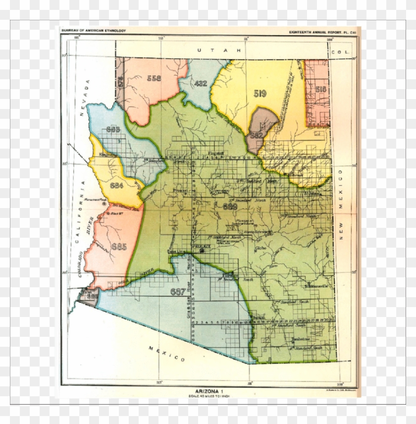 Map Of Arizona And New Mexico - Indian Cessions In Arizona Clipart #4896748