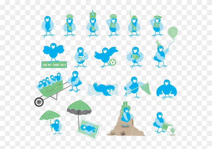 Cute Twitter Birds Png Icons My Free Photoshop World - Twitter Bird Icon Clipart #494460