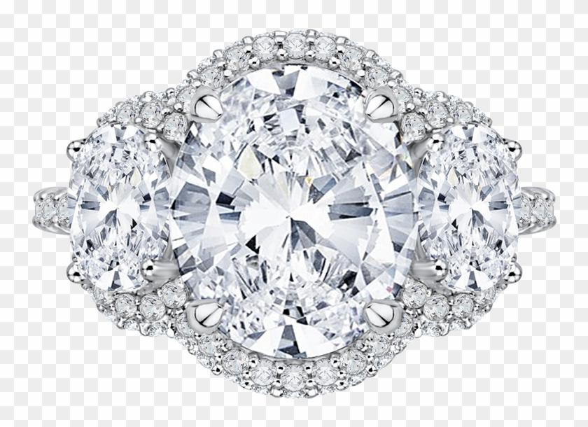 Qro0042k 40w - 3 Stone Halo Oval Diamond Ring Clipart #494868