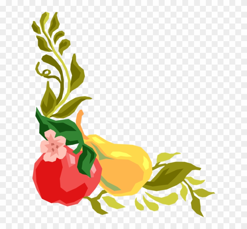 Vector Illustration Of Apple And Pear Fruit And Vine - Flower And Fruit Border Clipart #4917433
