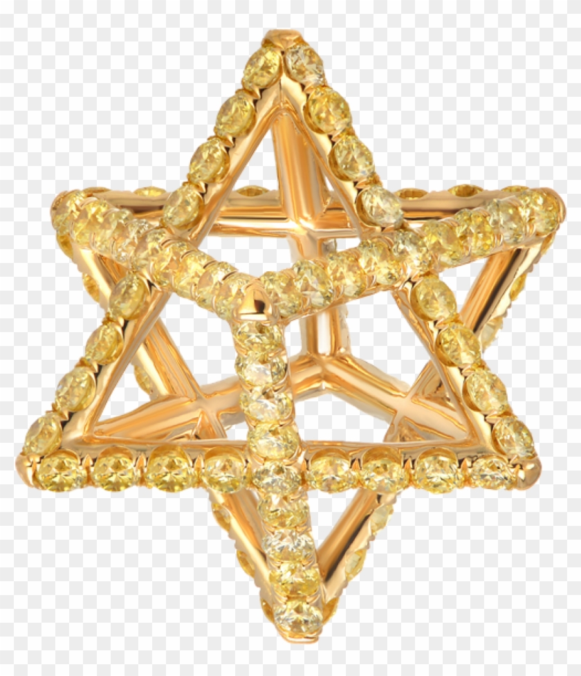 Merkaba Light Yellow Gold Pendant Necklace With Fancy - Bling-bling Clipart #4919439