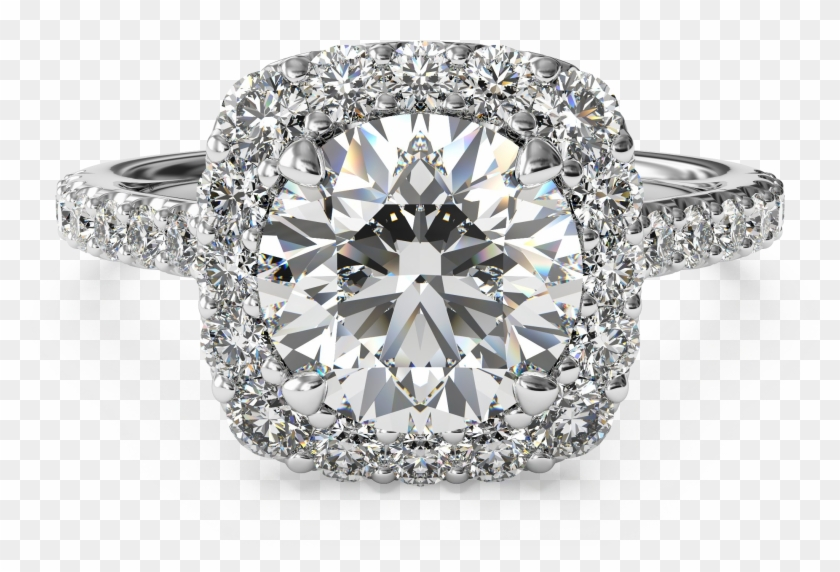 Diamond Ring Transparent - Halo Engagement Rings Clipart #4939403