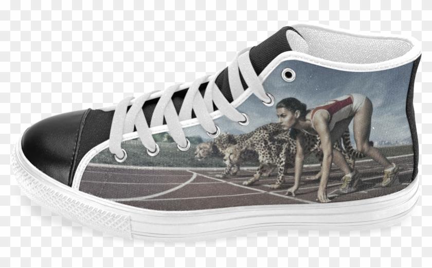 Running Cheetahs Men's Classic High Top Canvas Shoes - Skate Shoe Clipart #4983899