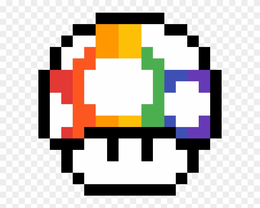 Rainbow Shroom Pixel Art Mario Bros Hd Png Download