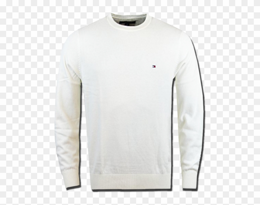 ~tommy Hilfiger Classic Crewneck White Cream Jumper - Long-sleeved T-shirt Clipart #54537