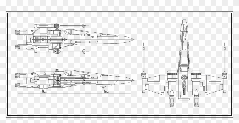 Vader's Tie Fighter - Star Wars X Wing Blueprints Clipart #501341