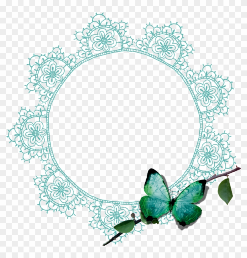 Mq Green Lace Butterfly Frame Frames Border Borders Clipart #501365