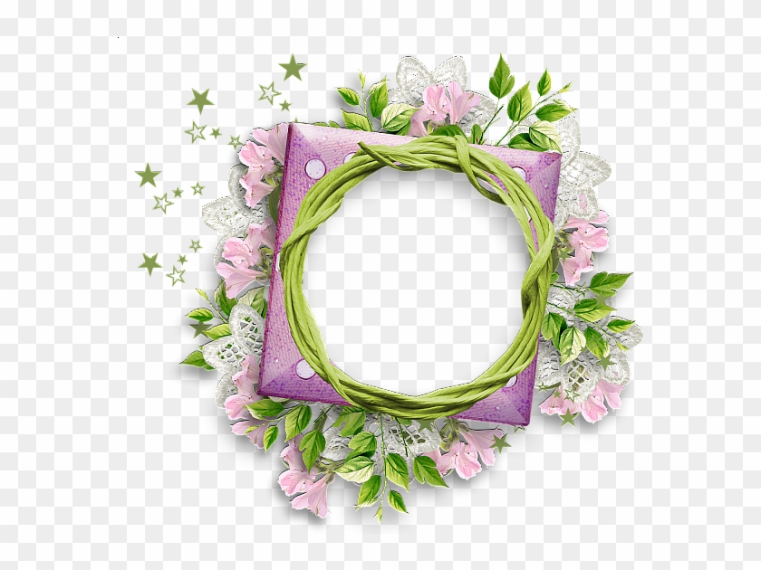 Round Lace Frame Png - Round Flower Frame Png Clipart #501584