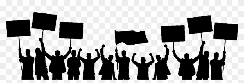 Konser Kalabaligi, silhouette of people holding banners ...   289x840