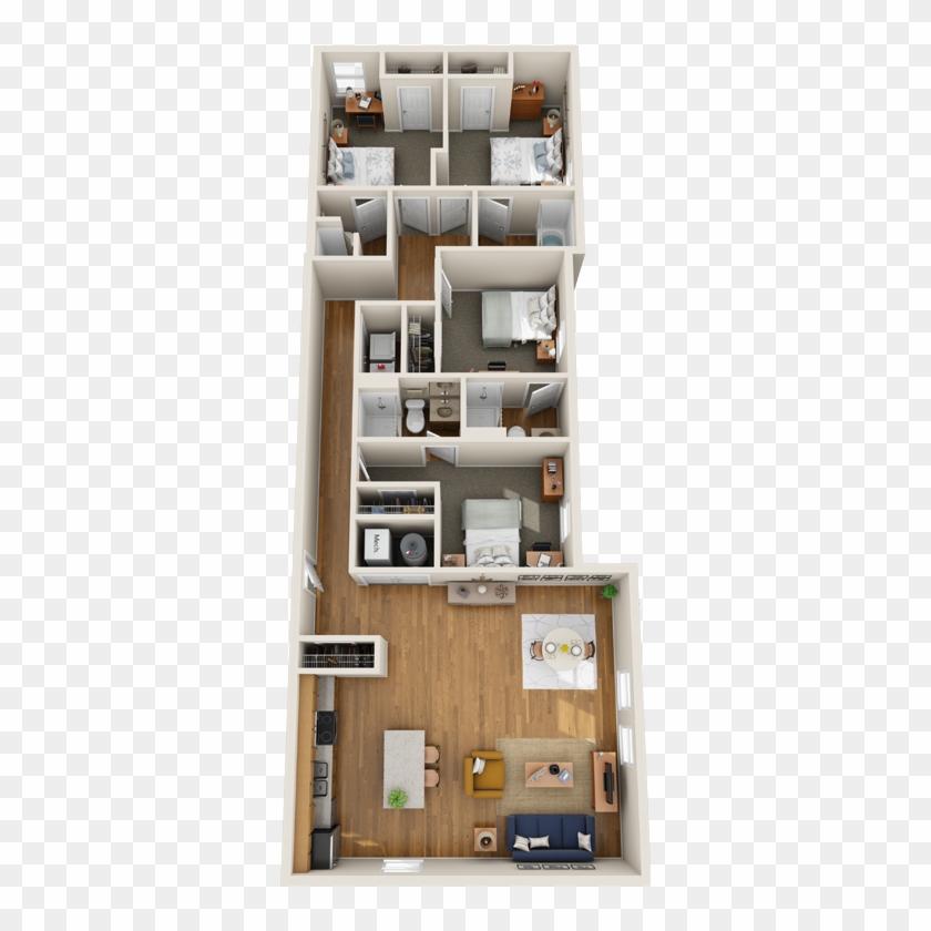 1 Bedroom Apartments Near Me - Floor Plan, HD Png Download ...
