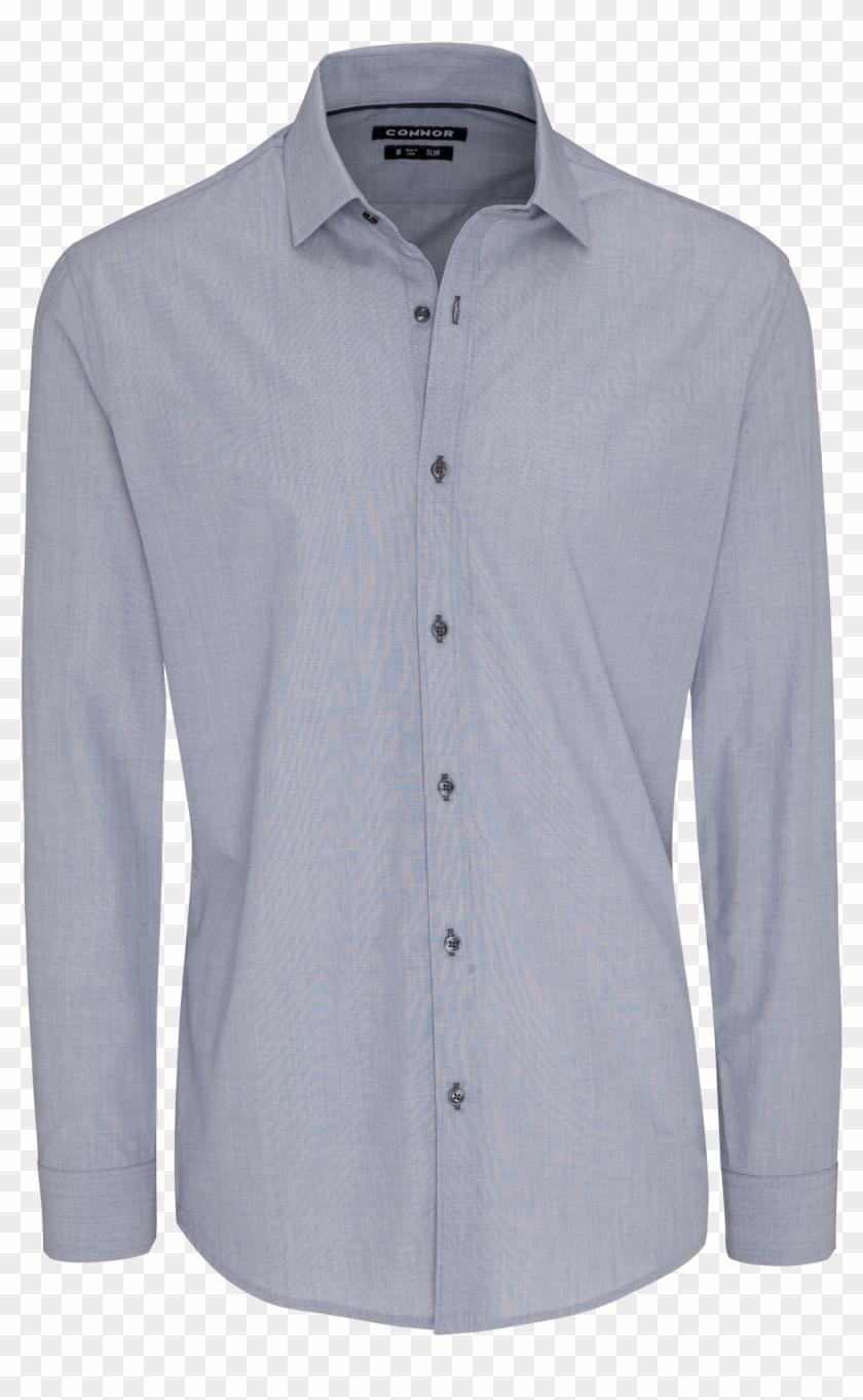 Silver Brayden Slim Dress Shirt By Connor - Long-sleeved T-shirt Clipart #5058727