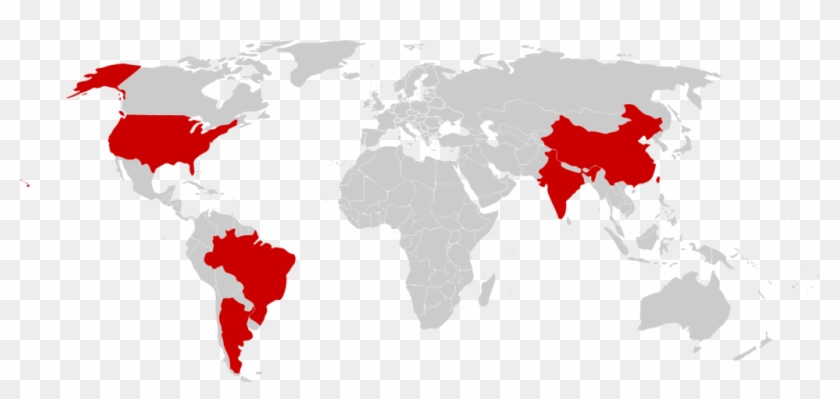 Argentina, Brazil, India, People's Republic Of China, - Grey Map Of The World Png Clipart #5063002