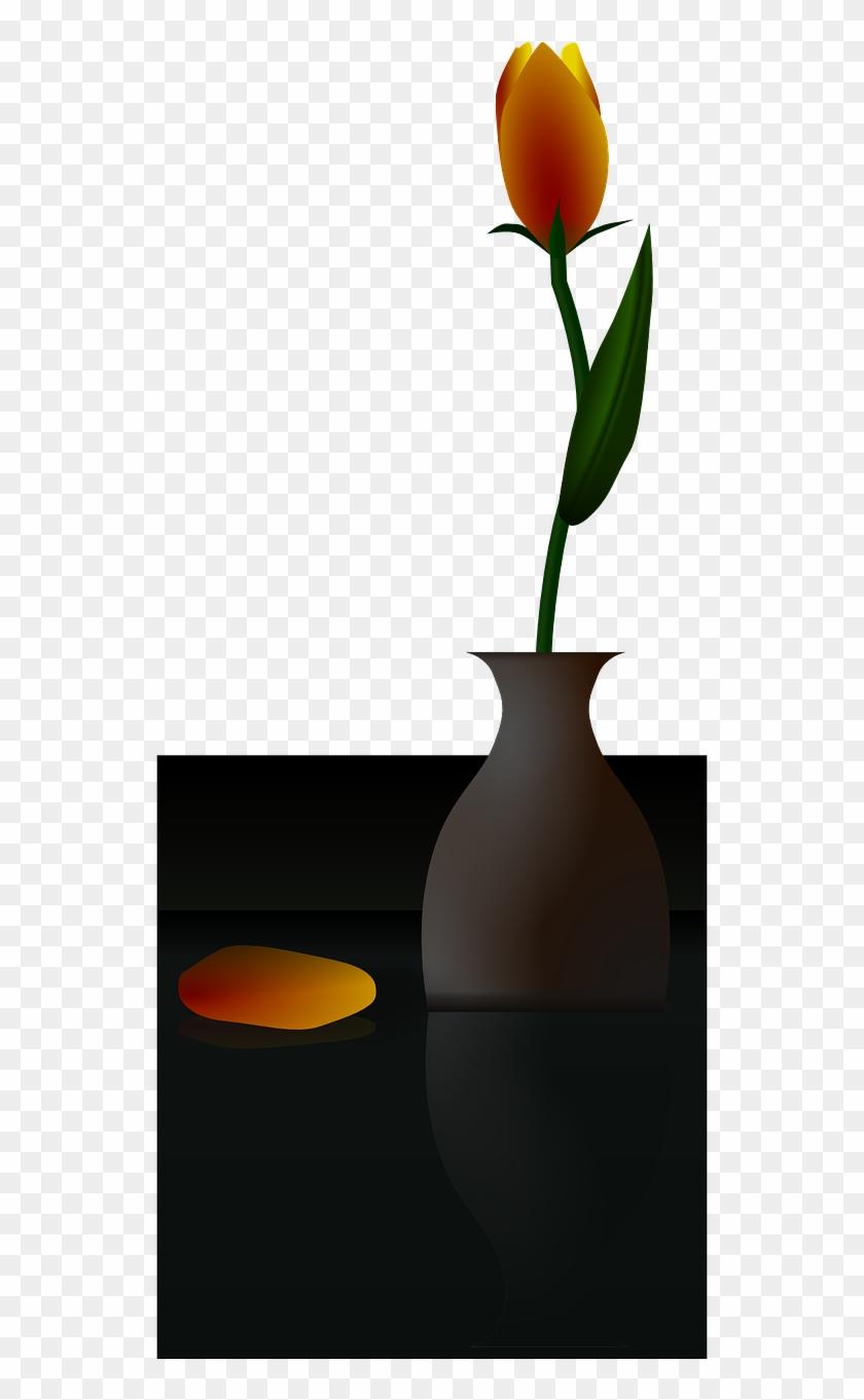 Flower Vase Tulip Yellow - Flower In A Vase Black Background Clipart #5090744