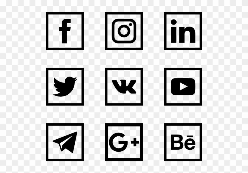Social Media Logo Collection - Black-and-white Clipart #513442