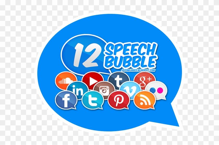 Speech Bubble Styled Social Media Icons - Social Media In Speech Bubble Clipart #514261