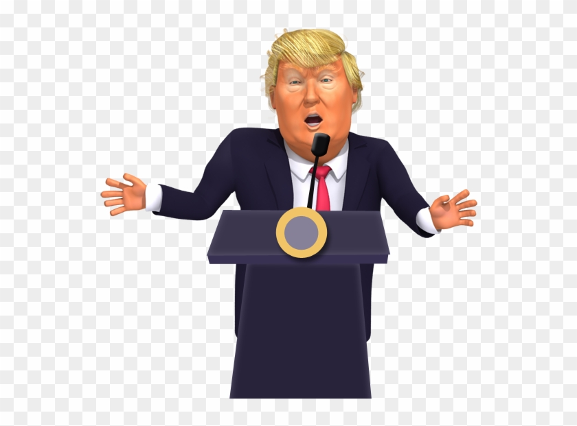 Giving A Press Conference Donald Trump 3d Caricature - Public Speaking Clipart #516321