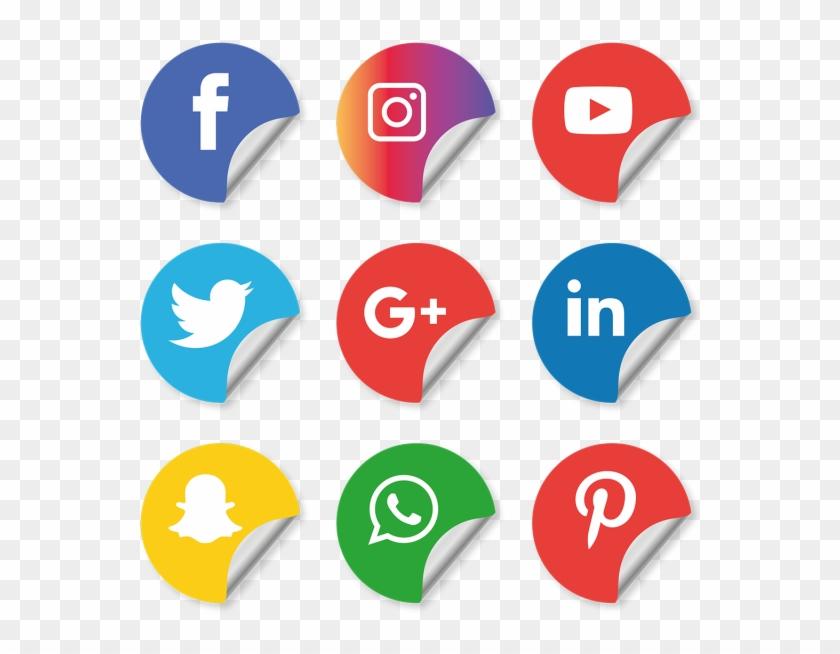 Social Media Icons Setinstagram Whatsapp Facebook - Vector Illustrator Social Media Icons Clipart #519709