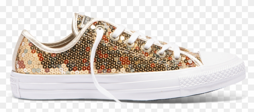 Chuck Taylor All Star Sequined Low Top Gold - Converse Gold Clipart #5117134