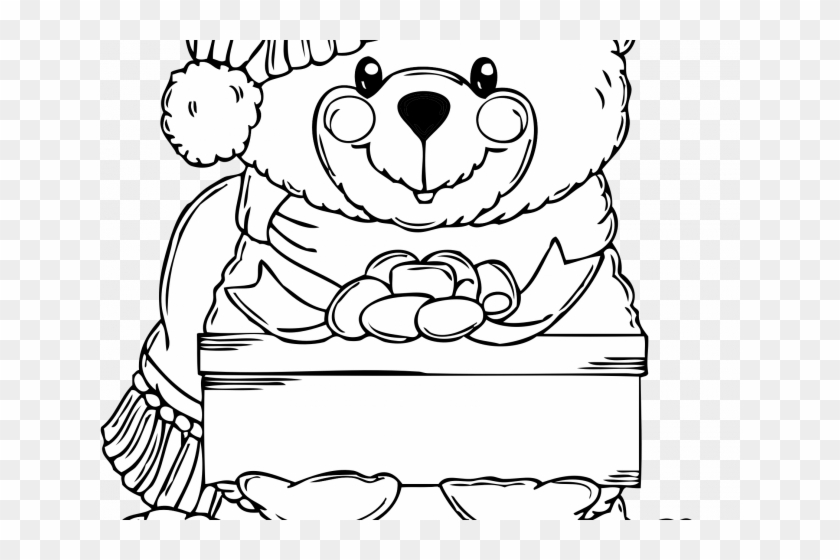 Christmas Bear Coloring Page With Clipart - Christmas Teddy ...