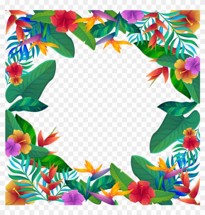 #mq #leaf #leaves #tropical #frame #frames #border - Free Clipart Tropical Flower Border - Png Download #5151923